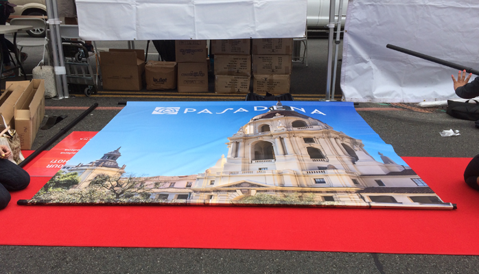 Pasadena City Hall Banner being assembled