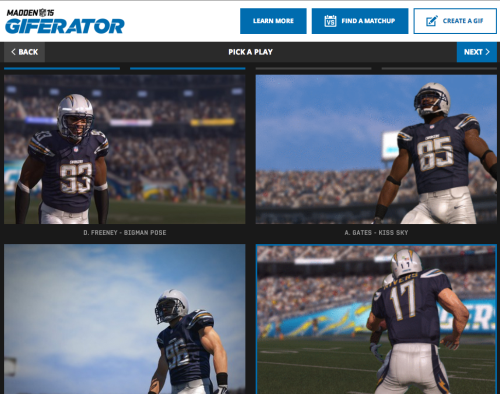 "EA Sports latest Madden NFL 15 ""giferator"" image"