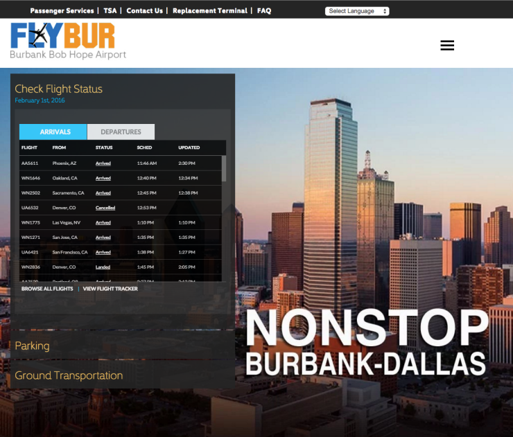 Burbank Airport new home page with flight tracker
