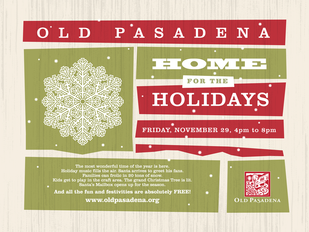 "Old Pasadena, ""Home For The Holidays"" Christmas promotion banner"