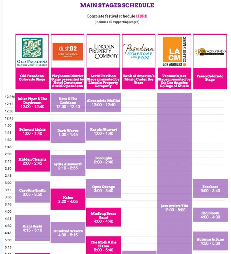 Custom Schedule for Make Music Pasadena
