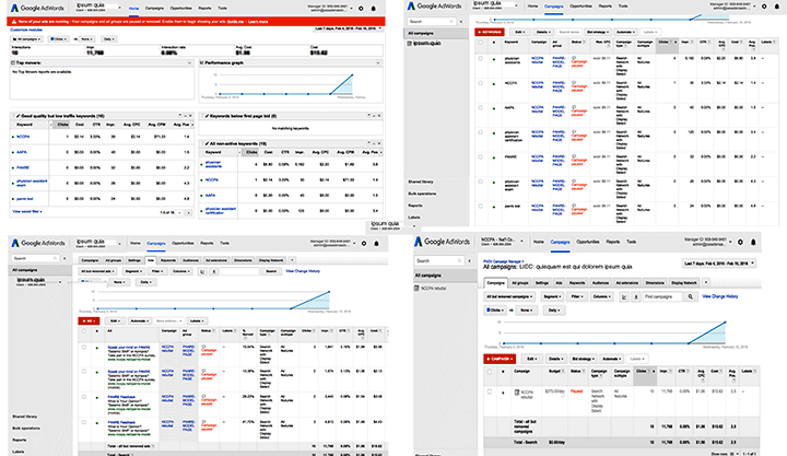 A 4-up display of Google Analytics Layout