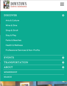 PADV mini-tab navigation For Santa Barbara Downtown
