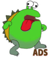 Giant green Ad Blocking Monster