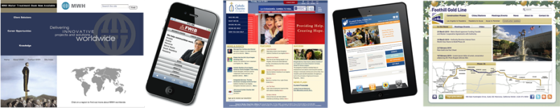 PADV online designs, MWH web site, FWIB smart phone, Catholic Charities LA web home, Foothill Unity tablet design, Foothill Gold Line Home Page with animated map